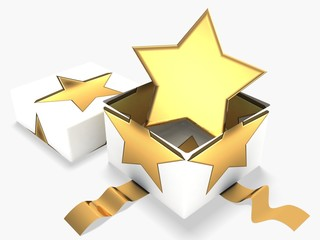 3d gift box with golden star