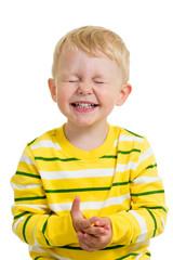 expressive child boy isolated on white