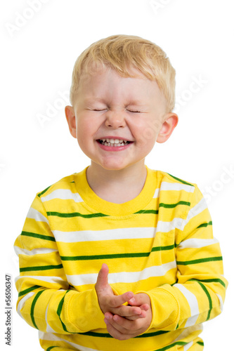 expressive child boy isolated on white