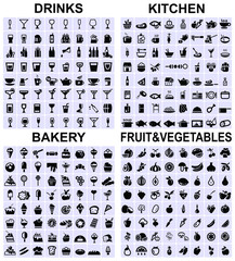drinks, kitchen, bakery, fruit and vegetables icons
