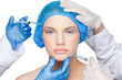 Surgeons making injection on pretty blonde wearing blue surgical