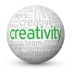 """CREATIVITY"" Tag Cloud Globe (innovation ideas imagination new)"
