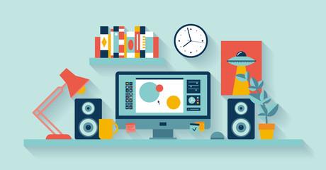 Designer workspace in the office