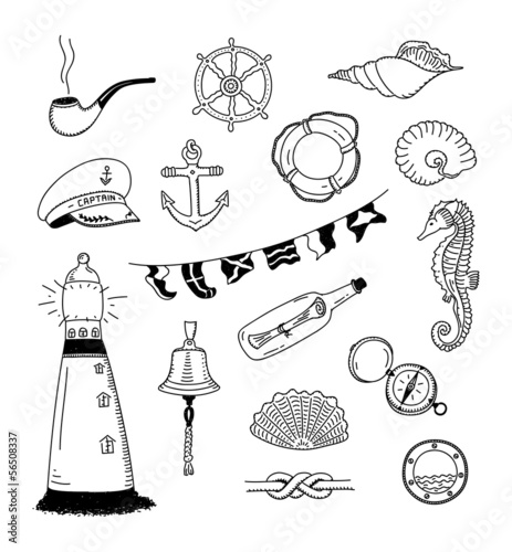 Sea vector doodle collection