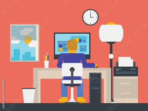 Illustration of a manager working in the office
