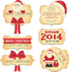 New Year and Christmas labels