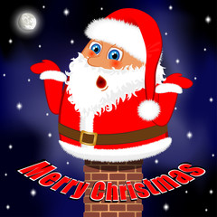 Funny Merry Christmas card - Santa Claus stuck in chimney