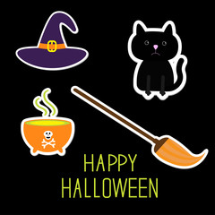 Happy Halloween witch's set. Black cat, hat, cauldron, broom. Ca