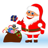 Klasus Santa with a bag and gifts