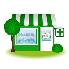 Pharmacy house icon. Vector illustration.