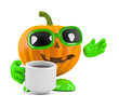 Pumpkin drinks from a cup