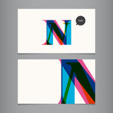 Business card template, letter N