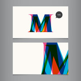 Business card template, letter M