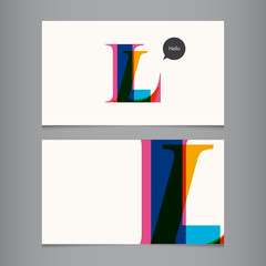 Business card template, letter L