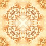 Ornate vintage circle pattern in mehndi style