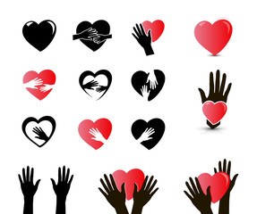 hands and heart icon set