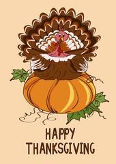 Thanksgiving card with pumpkin and turkey bird