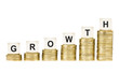 Word GROWTH on Row of Gold Coin Stacks Isolated White