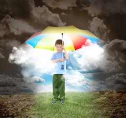 Umbrella Boy with Rays of Sunshine and Hope