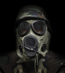 Gas Mask War Soldier on Black Background