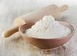 Flour on a wooden table