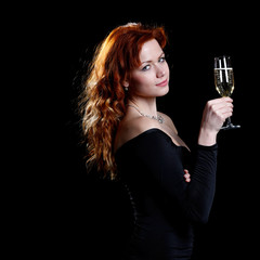 happy woman with champagne
