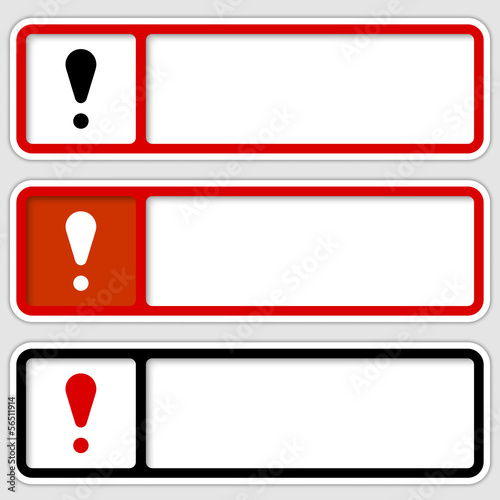set of three boxes for any text with exclamation mark