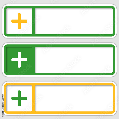 set of three boxes for any text with plus sign