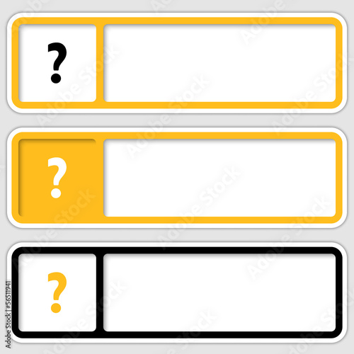 set of three boxes for any text with question mark