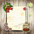 Floor boards with paper for Christmas greeting.eps