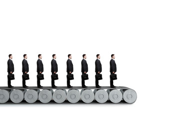 group of people standing on conveyor  on a white background