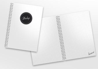 mockup ringbuch kariert label montage