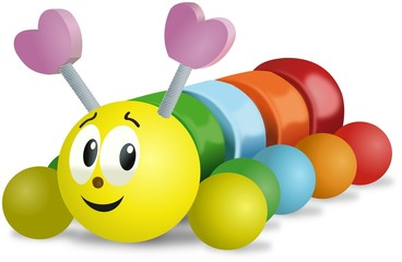 Colorful smiling wooden caterpillar toy on wheels