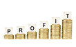 Word PROFIT on Row of Gold Coin Stacks Isolated White