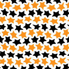 Stars seamless black and orange