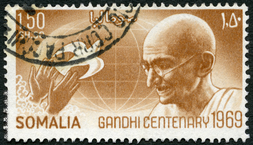 SOMALIA - 1969: shows portrait of Mohandas Karamchand Gandhi