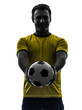 man showing giving soccer football  silhouette