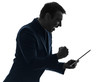 business man  digital tablet happy success  silhouette