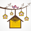 Calendar of September 2014 with birds sit on branch
