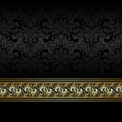 Luxury charcoal Background with golden ribbon.