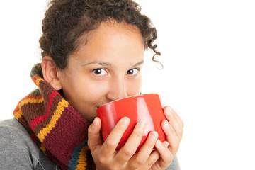 Drinking hot tea
