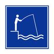 Cartel simbolo pescador en muelle