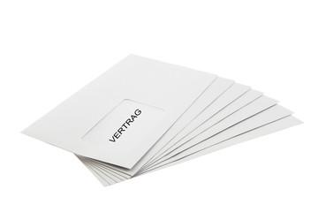Vertrag Batch of Envelopes isolated on White