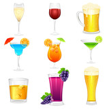 vector illustration of cocktail and hard drinks