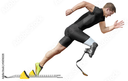 handicapped sprinter start block isolated