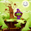 vector illustration of witch in Halloween land