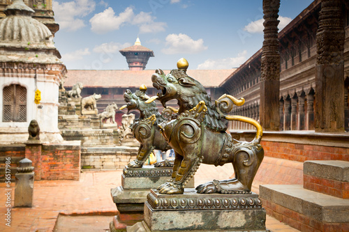Lion statues on DurbarSquare in Bhaktapur, Kathmandu Valley, Nep
