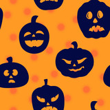 Halloween pumpkins silhouettes seamless background