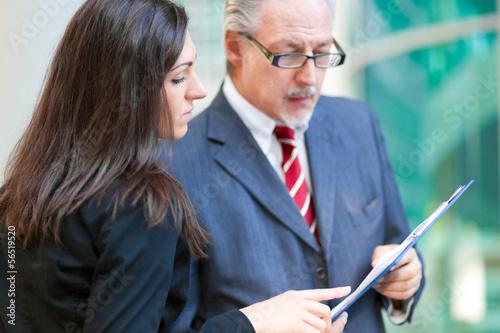 Businesspeople talking outdoor