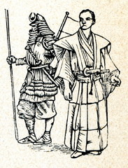 Japanese soldier (left) and samurai